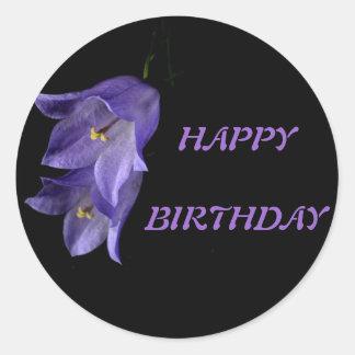 Purple floral art Happy  Birthday Round Stickers