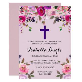 Purple floral Baptism /Christening Invitation Girl