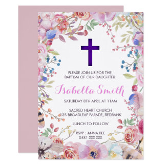 Purple floral Baptism /Christening Invitation Girl