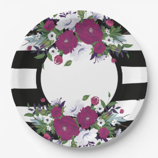 Purple Floral Black And White Stripes Flowers Paper Plate