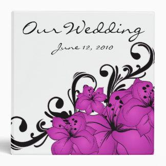 Purple Floral Black Swirls 3 Ring Binder