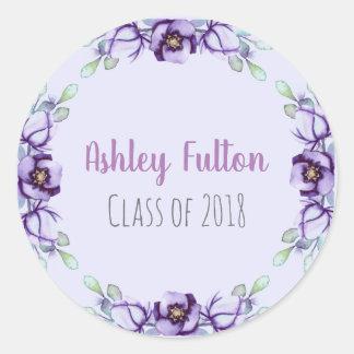 purple floral border - class of 2018 classic round sticker