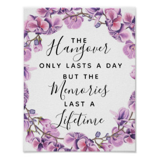 purple floral botanical hangover party wedding poster