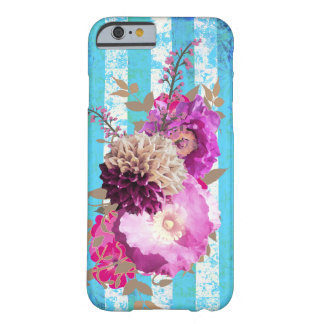 Purple Floral Bouquet on Blue Stripes Barely There iPhone 6 Case