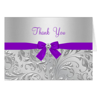 Purple floral & Bow Thank You Card