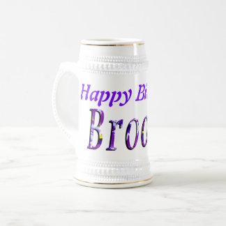 Purple Floral Brooke Name Logo, Beer Stein