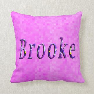 Purple Floral Brooke Name Logo, Throw Pillow