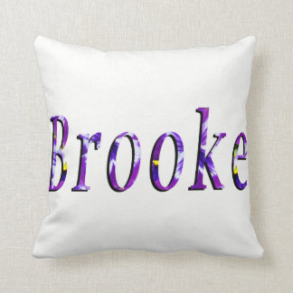 Purple Floral Brooke Name Logo, Throw Pillow