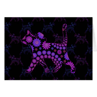 Purple Floral Cat Art Card
