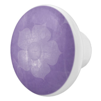 Purple Floral Ceramic Knob
