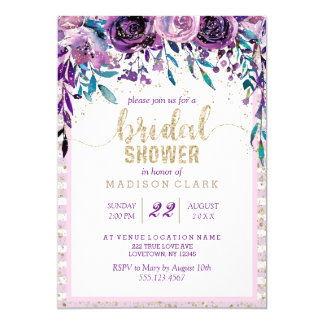 Purple Floral Champagne Bridal Shower Invitation