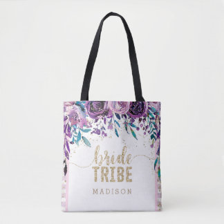 Purple Floral Champagne Gold & Stripes Bride Tribe Tote Bag