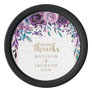 Purple Floral Champagne Gold Stripes Wedding Favor Poker Chips