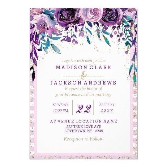 Purple Floral Champagne Gold Wedding Invitations
