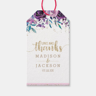 Purple Floral Champagne Gold Wedding Love & Thanks Gift Tags