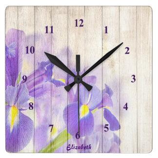 Purple Floral Custom Square Wall Clock