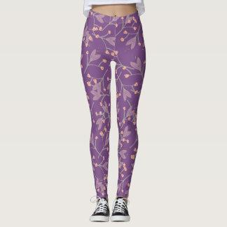 Purple Floral Cute Sweet Leggings