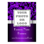Purple floral damask photo logo large business cards (Pack of 100)