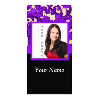 Purple floral damask photo template photo cards