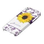 Purple Floral Damask Yellow Sunflower iPhone 5
