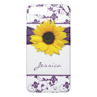 Purple Floral Damask Yellow Sunflower iPhone 8 Plus/7 Plus Case