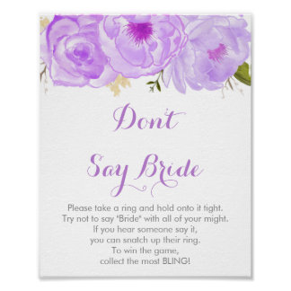 Purple Floral Don't Say Bride Game Poster