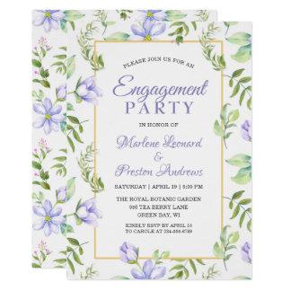 Purple Floral Dreamy Garden Engagement Party Card