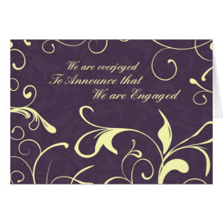 Purple Floral Engagement Announcement Card