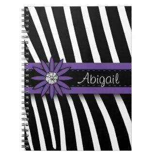 Purple Floral Gem & Zebra Pattern Notebook