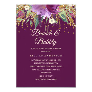 Purple Floral Glitter Amethyst Brunch and Bubbly Card