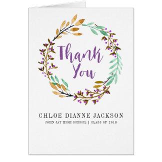 Purple Floral Graduation Photo Thank You Card