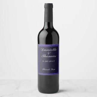 Purple Floral Gray Black Wine Bottle Label
