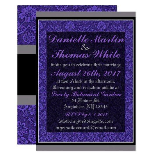 Purple Floral Grey Black Wedding Invitation