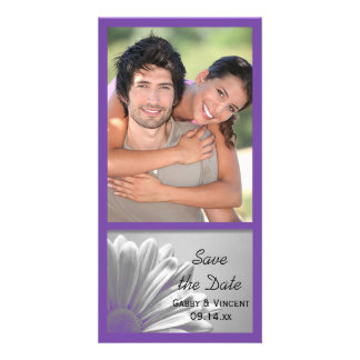 Purple Floral Highlights Wedding Save the Date Photo Card