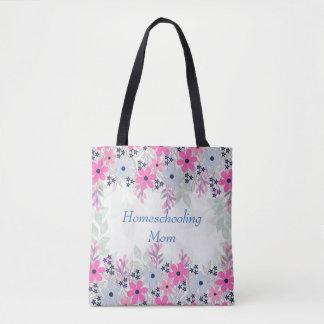 Purple Floral Homeschooling Mom Tote Bag