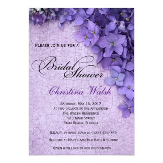 Purple Floral Hydrangea Bridal Shower Invitation