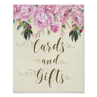 purple floral ivory wedding party cards and gifts poster