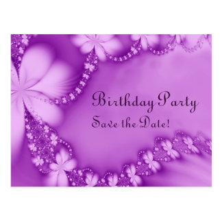 Purple Floral Jewel, Birthday Party Postcard