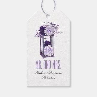 Purple Floral Lantern Wedding Gift Tags