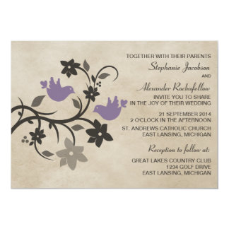 Purple Floral Lovebirds Wedding Invitation