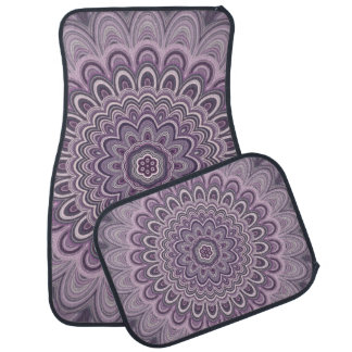 Purple floral mandala car mat