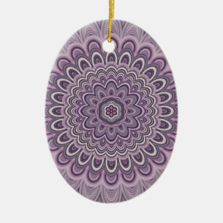 Purple floral mandala ceramic ornament