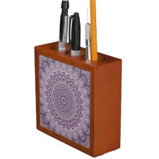 Purple floral mandala desk organizer