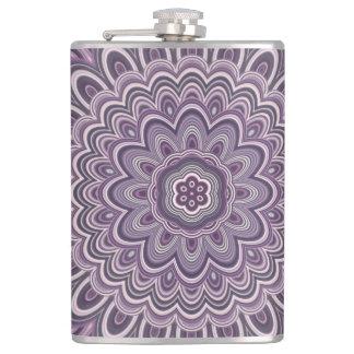 Purple floral mandala hip flask