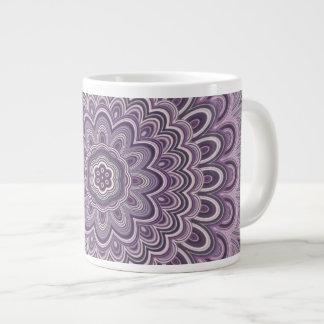 Purple floral mandala large coffee mug