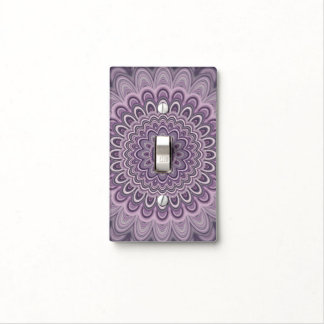 Purple floral mandala light switch cover