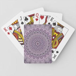 Purple floral mandala playing cards