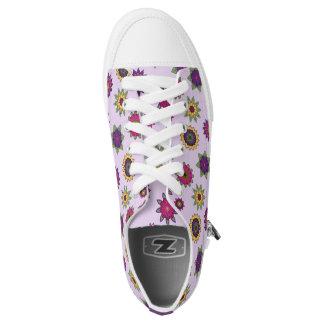 Purple Floral Mandala Print Sneakers Lo-Top