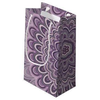 Purple floral mandala small gift bag