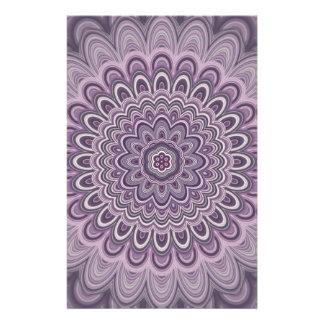 Purple floral mandala stationery